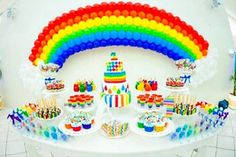 rainbow birthday party to promote frugal birthday party ideas