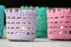 mest virkat: Virkade ljuslyktor i pastellfärger