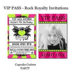 Rock Star Royalty PHOTO  VIP lanyard Badge Custom Invites Digital Invitations  Printable - U Print Girls