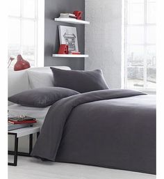 Bhs Plain Jersey Bedding, grey 1851340870 Modern Style Jersey BeddingFibre Composition: 100% CottonSingle set contains 1x duvet cover 135x200cm (53x79inches) approx and 1x pillowcase 48x76cm (19x30inches) approxDouble set contains 1x duvet co http://www.comparestoreprices.co.uk//bhs-plain-jersey-bedding-grey-1851340870.asp