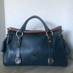 Dooney & Bourke Florentine Medium Satchel Denim Blue Leather for sale online Dooney Bourke, Blue Denim, Satchel, Zip, Medium, Best Deals, Leather, Bags, Handbags