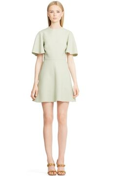 Valentino Flutter Sleeve Crepe Sheath Dress