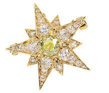 Starlight Victorian Green Diamond Star Brooch
