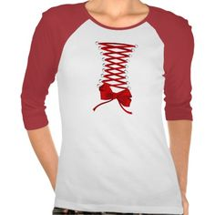 Red Corset • Ladies 3/4 Sleeve Raglan (Fitted) T Shirts
