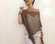 Turquoise knit poncho for women cotton dress top beach cover Boho Chic, Bohemian Chic Fashion, Bohemian Clothing, Style Bobo Chic, Böhmisches Outfit, Poncho Dress, Ladies Poncho, Vegan Clothing, Summer Knitting