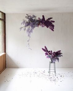 This wisteria and lilac cloud is just so simple pretty and darn perfect by Deco Floral, Floral Foam, Arte Floral, Floral Style, Floral Design, Purple Wedding, Floral Wedding, Wedding Flowers, Purple Flowers