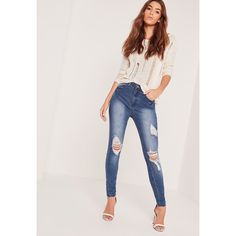 Missguided Sinner High Waisted Ripped Skinny Jeans ($48) ❤ liked on Polyvore featuring jeans, blue, high waisted distressed skinny jeans, skinny jeans, distressed skinny jeans, high waisted ripped skinny jeans and high waisted jeans