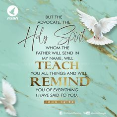 But the Advocate, the Holy Spirit, whom the Father will send in my name, will teach you all things and will remind you of everything I have said to you. John 14:26 #dailybreath #ruah #ruahchurch #ruahministries #bibleverse #promiseoftheday #blessingword #verseoftheday #dailyword #sprinkleofjesus #bibleblog