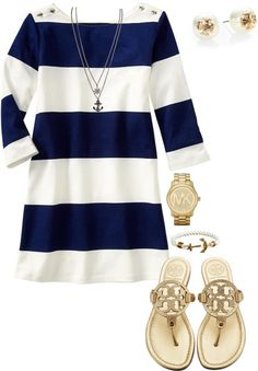Navy + white striped dress + Tory Burch Miller sandals Pink shorts, a pullover… Cute Work Outfits, Summer Outfits, Casual Outfits, Mode Outfits, Fashion Outfits, Womens Fashion, Dress Fashion, Mode Style, Style Me