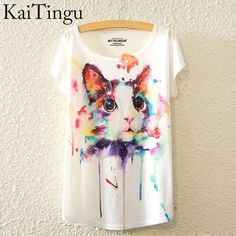 833265728357 KaiTingu 2016 Brand New Fashion Summer Harajuku Animal Cat Print Shirt