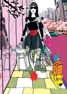 Fashion Illustration by Przemeck Sobocki- walking Omotesando