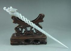Exquisite ancient Chinese white jade carving phoenix hairpin Hair Sticks