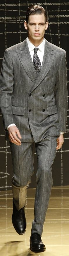 Ermenegildo Zegna | Men's Fashion | Menswear | Double Breasted Gray Pinstriped…