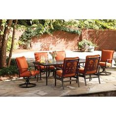 Thomasville, Messina 7 Piece Patio Dining Set With Paprika Cushions,  FG MN7PCDS