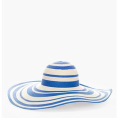 Chico's Striped Sun Hat (8.360 CRC) ❤ liked on Polyvore featuring accessories, hats, blue, wide brim hat, wide brim sun hat, sun hat, floppy hat and paper hats