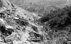 1944, Italie, Monte Cassino, Positions de mortier du 2 ème Corps d'Armée polonais sur la colline