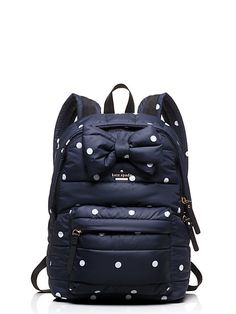 Put a Bow on it. Navy Polka Dot backpack _ colby court reid - kate spade new york Coach Purses, Coach Bags, Handbag Accessories, Fashion Accessories, Travel Accessories, Chloe Fashion, Cheap Coach, Kate Spade Wallet, Purses And Handbags