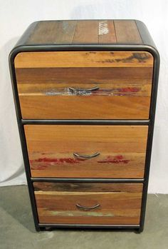 Retro Style Dresser With 3 Drawers Made From Reclaimed Salvaged Outrigger Canoe Fishing Boat Wood And Steel Impact Imports Of