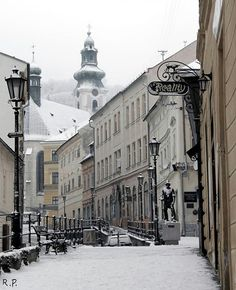 Banska Stiavnica by Roland Pis Continental Europe, Drawing Stuff, Central Europe, Bratislava, Amazing Pictures, Homeland, Street Food, Winter Wonderland, Castles