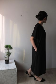 tencel ruched shoulder V-neck tunic style maxi by Metaformose