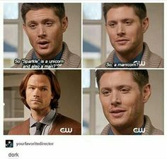 Find images and videos about funny, supernatural and Jensen Ackles on We Heart It - the app to get lost in what you love. Supernatural Season 11, Supernatural Merchandise, Supernatural Bloopers, Supernatural Tattoo, Supernatural Imagines, Supernatural Wallpaper, Supernatural Memes, Spn Memes, Mark Sheppard