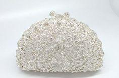13Color Metal Minaudiere Pink Crystal Peacock Clutches Handbags Ladies Evening Party Clutch Rhinestone Wedding Bridal Bags Purse