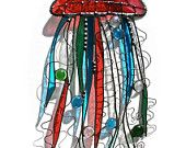 Stained Glass BLUE CRAB Whimsy Suncatcher -