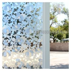 BDF Non-Adhesive Frosted Privacy Flower Static Cling Window Film X by BuyDecorativeFilm, White Window Clings, Window Coverings, Window Treatments, Frosted Glass Window, Stained Glass Window Film, Glass Doors, Security Window Film, Behind The Glass, Window Privacy