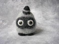 Black Alien monster Fiber artwork Handmade unique fantasy doll toy mobile…