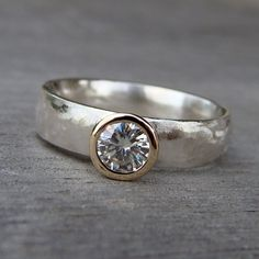 Moissanite, Recycled 14k Gold, and Recycled Sterling Silver Wedding Ring, Made To Order
