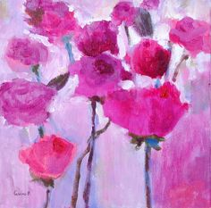 Bring these beautiful flowers to your home or office. Delicate pink roses in a natural garden.  Title: Pink roses Dimensions: 10 X 10 X 1 3/8