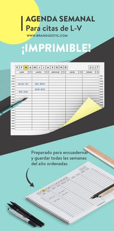 Free Printable Weekly Agenda to make the most of your week and have it all well organized. You can print it and have all the weeks and bind your own book. Weekly Agenda, Agenda Planner, Organization Bullet Journal, Life Organization, Printable Planner, Free Printables, Planners, Cut And Paste, Back To School