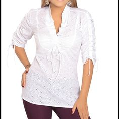 Loose waist fit blouse, 3/4 sleeve, 100% cotton.  Sizes:  8 to 14. Tops Blouses