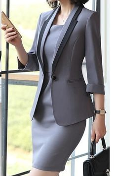 Hot Ladies Dress Suit for Work Full Sleeve Blazer Sleeveless Dress 2 Pieces Set - Creationsg Source by sammywood dresses for work Stylish Work Outfits, Business Casual Outfits, Professional Outfits, Classy Outfits, Business Attire, Corporate Attire Women, Business Dresses, Work Casual, Women's Fashion Leggings