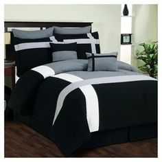 DR International Toxanna Hotel Comforter Set in Black/Gray Queen Comforter Sets, Bedding Sets, Designer Bed Sheets, Hotel King, King Sheet Sets, Dream Bedroom, Home Decor Inspiration, Duvet Cover Sets, Luxury Bedding