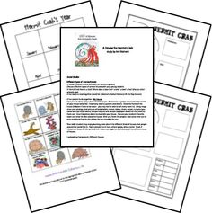 This is a huge file with lots of materials for a lapbook based on the Eric Carle book A HOUSE FOR A HERMIT CRAB. In it you'll find a chart for Hermit Crab's year (boxes for January-December) and cards that represent events in the story. Good for sequencing and identifying months of the year.