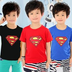 Kids 1-7Y Baby Boys Summer Superman Short Sleeve T-shirt Cotton Tee Tops