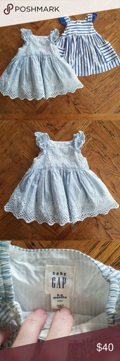 GAP Blue Baby Girl's Eyelet Dress Brand New Without Tags(washed in Dreft but never worn!)  This vertical stripped dress with eyelet lace patterning is for size 3-6 months. Pullover design, no buttons. Has an extra layer of fabric under the skirt for added volume.   NO TRADES  NO LOWBALL OFFERS  PRICE NEGOTIABLE BUNDLES WELCOME  Have ?s Ask Below! GAP Dresses Casual