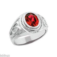 Sterling Silver Red Ruby CZ Celtic Men's Birthstone Ring
