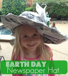 Earth Day Hat- use newspaper and other items to make into a 'Kentucky Derby' style recycled hat! #earthday #hat #newspaper