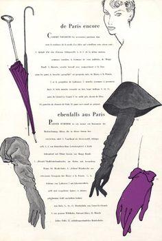 Haramboure 1951 Christian Dior & Jacques Fath Gloves Umbrella