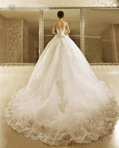 Luxurious Ball Gown Strapless Beads Cathedral Train Lace-up Wedding Dress