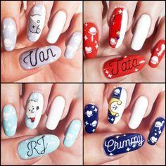 Korean Nail Art, Korean Nails, Nail Polish Designs, Nail Art Designs, Cute Nails, Pretty Nails, Army Nails, Fan Nails, Dot Nail Art
