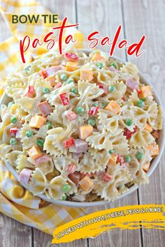 Homemade pasta salad is always the best, and this Bowtie Pasta Salad Recipe is just what you're looking for. Ham, cheese, peas, onions, and bell peppers add color and flavor and a delicious, creamy homemade dressing brings it all together. You'll be proud to serve this side dish at your next picnic, potluck, cookout, party, or family dinner! Sweet Pasta Salads, Creamy Pasta Salads, Best Pasta Salad, Pasta Salad Recipes, Macaroni Salads, Savory Salads, Ham Peas And Pasta, Ham Pasta, Pasta Dishes