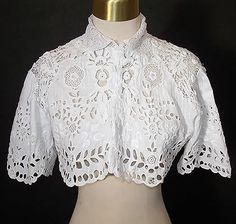 Vintage Tatting dentelle /& Main Brodé Floral robe//top col ~ Blanc ~ Heirloom ~