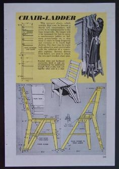 Plans for Eames style chair ladder Ladder Chair, Diy Ladder, Library Ladder, Library Chair, Woodworking Plans, Woodworking Projects, Furniture Plans, Smart Furniture, Diy Stool