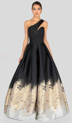 Terani Couture - Two Tone Asymmetric Pleated Ballgown – Couture Candy Formal Evening Dresses, Elegant Dresses, Pretty Dresses, Evening Gowns, Strapless Dress Formal, Beautiful Dresses, Ball Gown Dresses, Prom Dresses, Quince Dresses