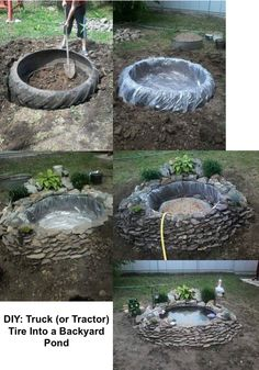 DIY: Truck (or Tractor) Tire Into a Backyard Pond.