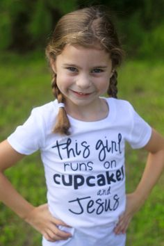 This Girl Runs On Cupcakes and Jesus Black Glitter Vinyl Shirt by CutesyTDesigns on Etsy