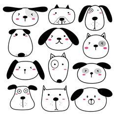Dog Face Drawing, Dog Drawing Simple, Dog Drawing For Kids, Cute Dog Drawing, Drawing Drawing, Animal Drawings, Cute Drawings, Easy Drawings Of Animals, Doodle Art